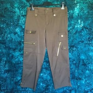 Cache // Brown Satin Cropped Cargo Ankle Pants 8